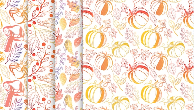 Collection of autumn patterns with leaves,berriess,pumpkins,mushrooms in fall colors.