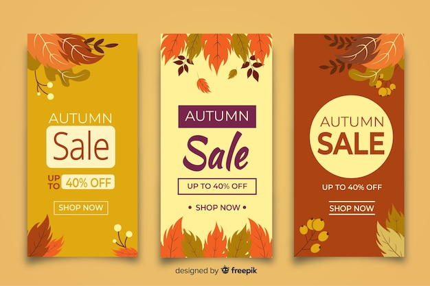 Collection of autumn sales banner flat design