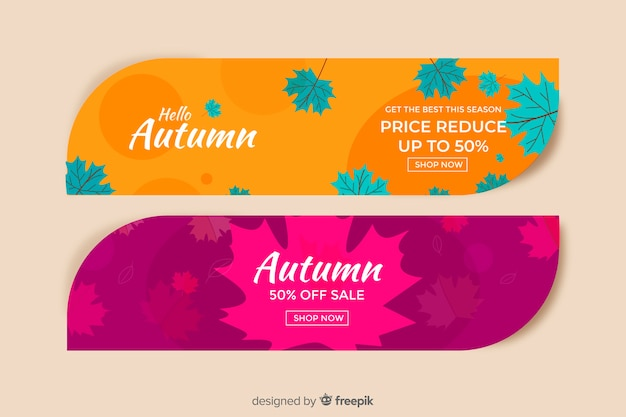 Collection of autumn sales banner hand drawn design