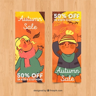 Collection of autumn sales banner watercolor design