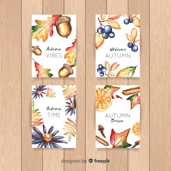 Collection of autumn watercolor cards