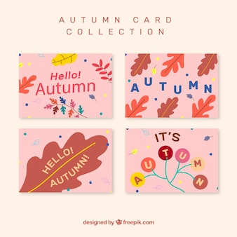 Collection of autumnal cards with colorful leaves