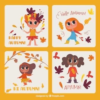 Raccolta di carte autunnali con bambini felici