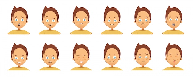 Collection of avatars with child emotions