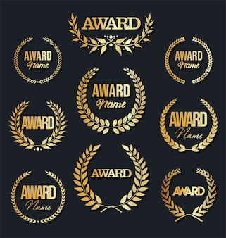 Collection of award sign with laurel wreath on black background.