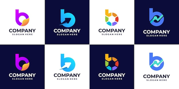 A collection of b letter gradient logos