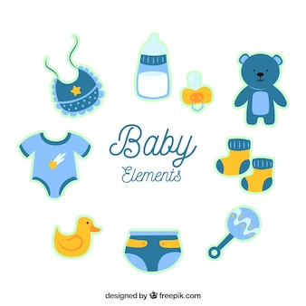 Collection of baby elements for boy