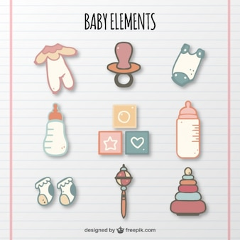 Collection of baby elements in pastel colors