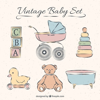 Collection of baby elements in vintage style