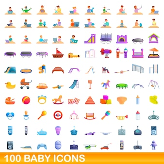 Collection of baby icons isolated on white