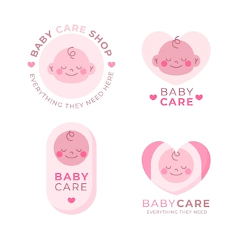 Collection of baby pink logo Free Vector