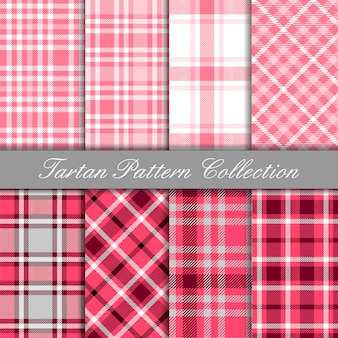 Collection of baby pink tartan seamless pattern