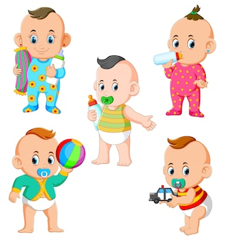 The collection of the baby's activities in the different posing