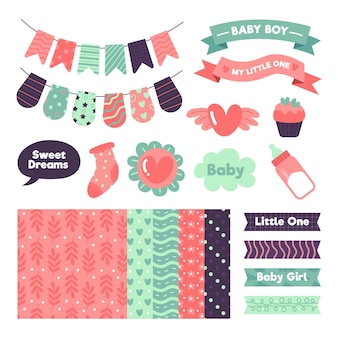Collection of baby shower scrapbook elements