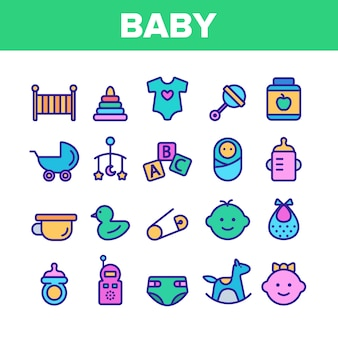 Collection baby toys and elements  icons set