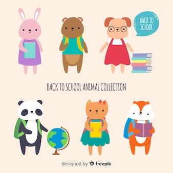 Collection of back to school animals