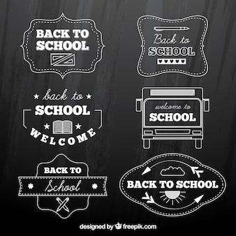 Collezione di ritorno a scuola badge in stile gesso