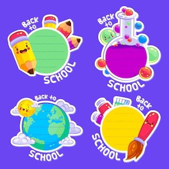 Collezione di badge di ritorno a scuola
