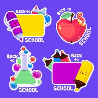 Collezione di etichette di ritorno a scuola