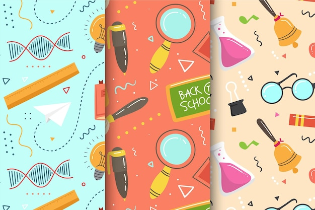 Collection of back to school pattern