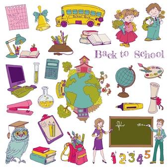 Коллекция обратно в школу предметов и детей