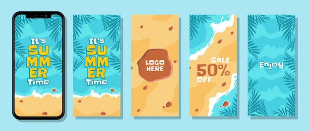 Collection background instagram stories sosial media summer beach tropical palm vector