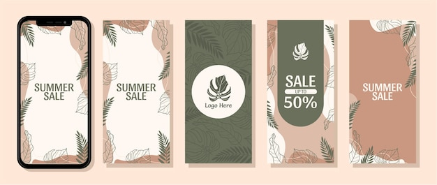 Collection background instagram stories sosial media summer tropical leaf vector