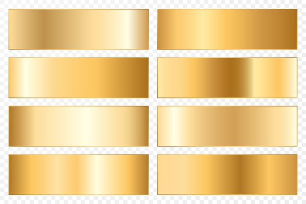 Collection of backgrounds with a metallic gradient. brilliant plates with gold effect.