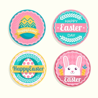 Collection of badges for easter day