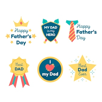Collection of badges for fathers day