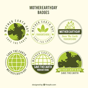 Collection of badges for the international earth day