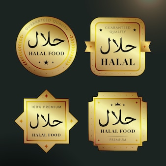 Collection of badges/labels for halal in flat design
