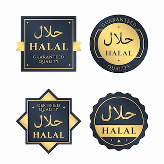 Collection of badges/labels for halal