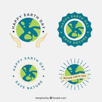 Collezione di badge per la giornata della madre terra