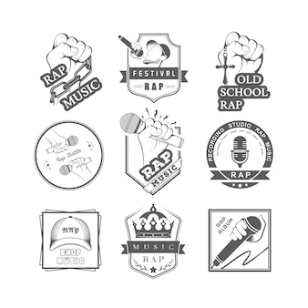 Collection of badges rap music