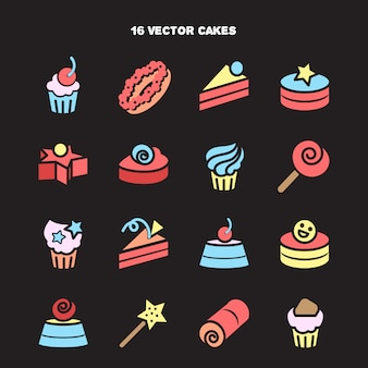Collection of bakery and cake icons