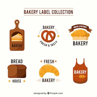 Collection of bakery label in flat design