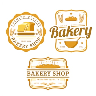A collection of bakery logo template, bakery shop set, vintage retro style logo pack