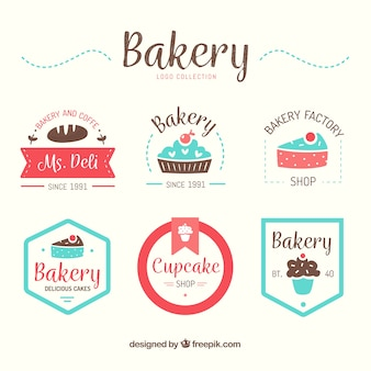 Collection of bakery logos in flat style