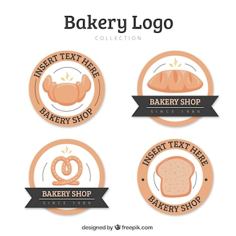 Collection of bakery logos in hand drawn style