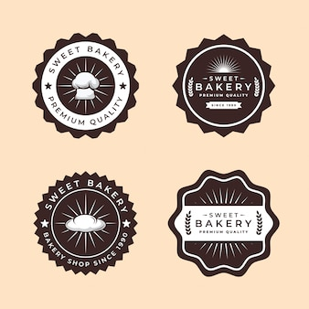 Collection bakery logos vintage style