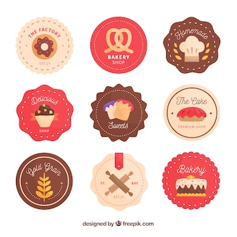 Collection of bakery stickers in flat style