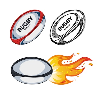 Collection ball rugby white background design