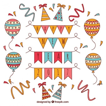 Collection of balloons and hand drawn new year party elements