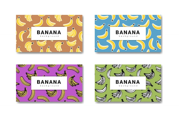 Collection of banana fruit hand drawn background. banana food banner.