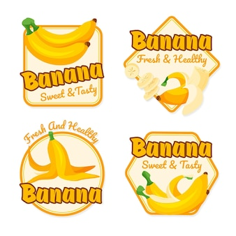 Collection of banana logos illustrated