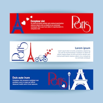 Collection of banners and ribbons with paris landmark buildings isolated vector illustration