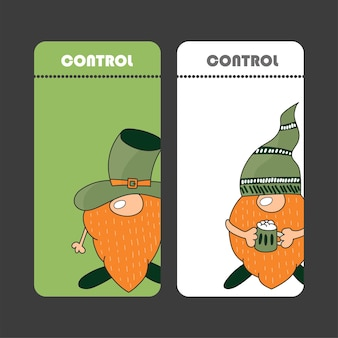 Collection of banners for st. patrick day. simple ticket design with gnome. flyers can be used for advertising, party.