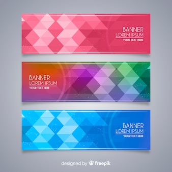 Collection of banners with abstract geometric shapes