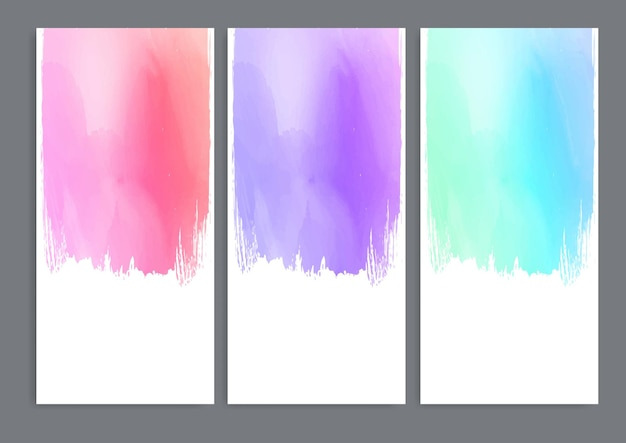 Collection of banners with detailed watercolour designs